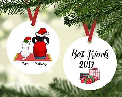 Yor242len Maltesisches Ornament Best Friends with Malteser, maltesisches Geschenk, Kind mit Malteser Familie, Ornamente Malteser -