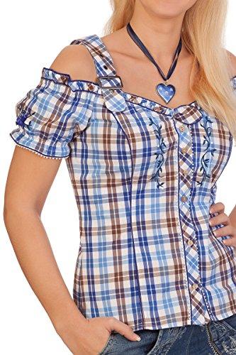 Trachten Bluse - WESPE - blau, beere Blau
