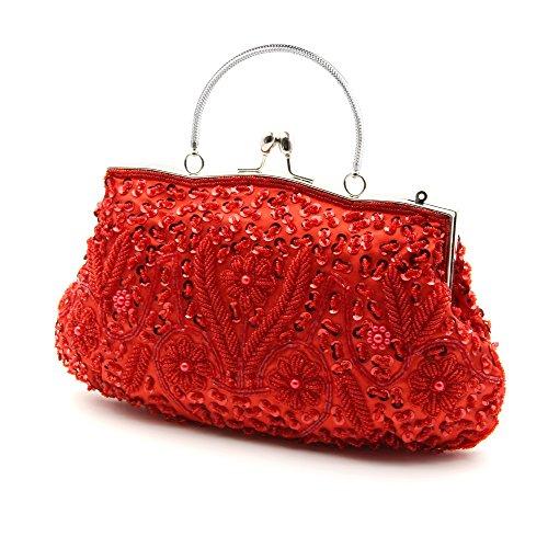 HOTER Sac à main de soirée avec perles et sequins Plusieurs couleurs Rouge - rouge