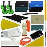 FOSHIO Werkzeuge Kit Plus für Car Wrapping u.Scheibentönung mit Rakeln, Magnet, Schaber, Cutter, Pinzette u. Handschuh