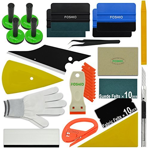 Preisvergleich Produktbild FOSHIO Werkzeuge Kit Plus für Car Wrapping u.Scheibentönung mit Rakeln, Magnet, Schaber, Cutter, Pinzette u. Handschuh