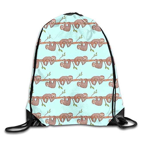 Naiyin Lazy Baby Sloth Pattern Drawstring Bag Backpack Sackpack Shoulder Bags Gym Bag Lightweight Gym for Men and Women Hiking Swimming Yoga -