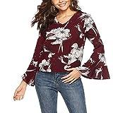 GreatestPAK Damen Pullover V-Ausschnitt Trompetenärmel Oberteile Plus Größe Lange Aufflackern Ärmel Druck Knopf Hemd,rot,S