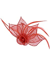 Red Sinamay Flower and Feather Beak Clip Brooch Corsage Fascinator
