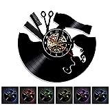 Coiffeur Barbier Salon De Coiffure Vinyle Record Horloge Stylistes Barbiers Cadeau Pour Un Coiffeur,Black,12Inch
