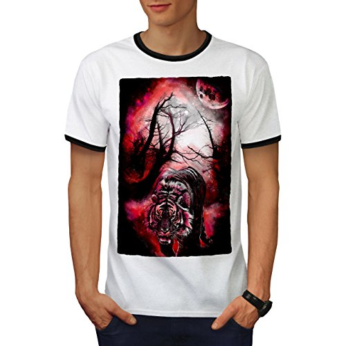 Tiger Rot Mond Tier Nacht Jagd Herren L Ringer T-shirt | Wellcoda (Türkei-jagd-t-shirt)