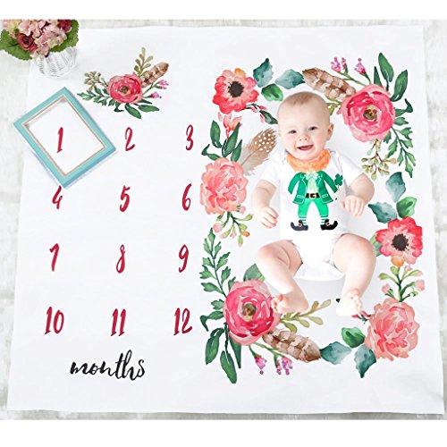 Preisvergleich Produktbild Homyl Blumen Fotografie Hintergrund mit monatlichem Meilenstein Baby Säuglings Fotohintergrund-Decke 12 Monats Fotografieren Decke Geschenk zur Geburt