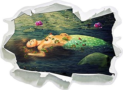 Beautiful mermaid inside the water, paper 3D wall sticker size: