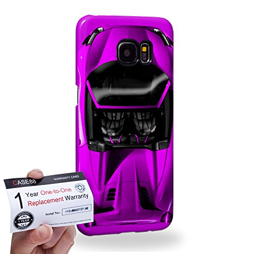 Case88 [Samsung Galaxy S7 Edge] 3D Hülle / Schutzhülle & Garantiekarte - Art Design Purple Sport Car