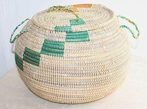 afriqueartdecoration.com AFRIQUE ART DECORATION -Grande corbeille ronde en paille tressée 6500-S6V-1810