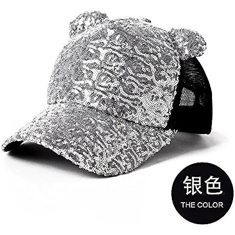 Dngy*Cap i bambini in autunno e in inverno marea femmina inverno cappello da baseball elegante alluminio visiera cappelli Cappelli Cappello , argento