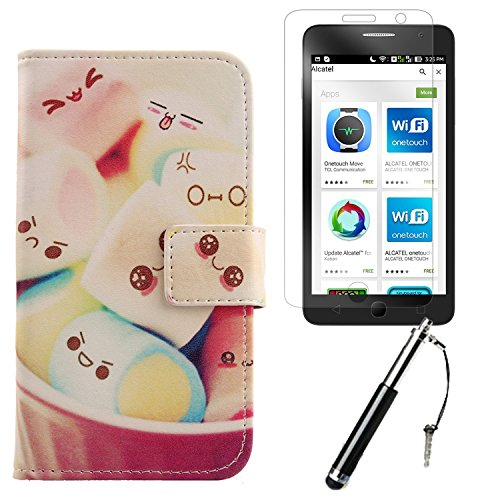 "Lankashi 3in1 Set Lovely Design PU Cuir Coque Case Pour Alcatel One Touch Pop Star 5070D 4G 5"" Housse Etui Cover Flip Verre Trempé Vitre de Protection écran Rétractable Mini Tactiles Capacitif Stylus  Lovely"