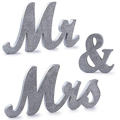 (H: 15cm) Mr & Mrs Holz Buchstaben mr Mrs Holz Schild Buchstaben Deko Hochzeit Dekoration mr und Mrs Tischdeko Hochzeitsgeschenke für Brautpaar Hochzeitsdeko Vintage Silber
