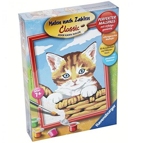 Ravensburger 27933 Malen nach Zahlen Katze Kätzchen Zeichnen Basteln Bild Korb
