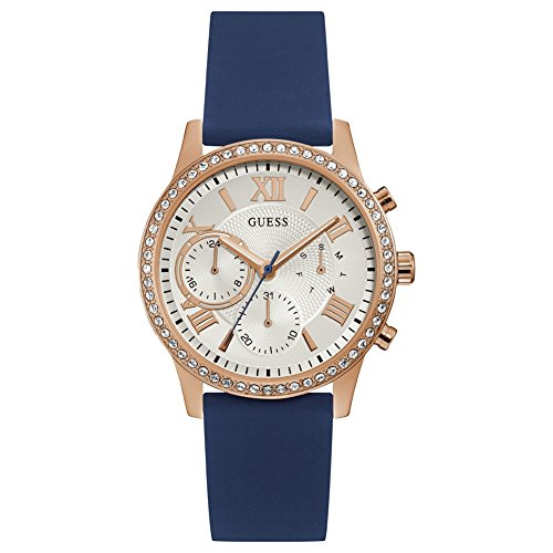 Guess Ladies Rose Gold with Blue Silicone Strap W1135L3