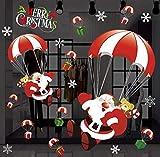 ZBYLL Pegatinas Santa Claus Ciervos Pegatinas Papel Comercial Escena Pegatinas De Pared De Vidrio 1