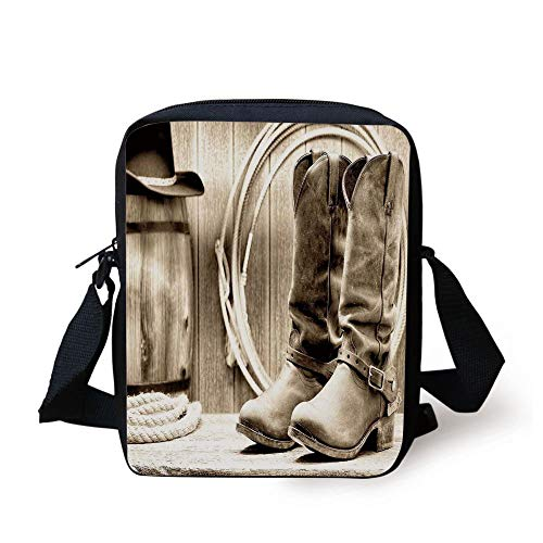 Western,Traditional Rodeo Supplies with Roper Boots in Vintage Colors Nostalgic Wild Photo Decorative,Black and White Print Kids Crossbody Messenger Bag Purse - Vintage Rodeo