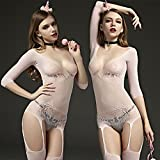 hyhan Kleidung Netzwerk-Obsessive Catsuit unten Body Netzstoff Strapsen sexy Unterwäsche Siamesische, Pink