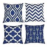 TIDWIACE® Bleu Foncé Housses de Coussin Décoratif Canapé Maison Salon pour Canapé Chambre 18x18 Pouces 45x45 cm,Lot de 4