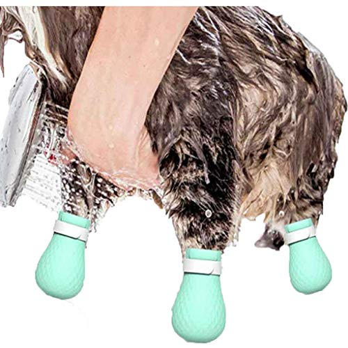 A-Waroom Katzen-Fußschuhe, Krallenschutz, Kratzschutz, Katzen-Fußschuhe, Silikon, für Baden und Rasieren, 4 Stück