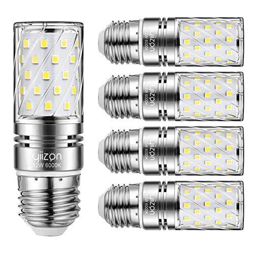 Yiizon led e27 12w lampadine a candela, 100w equivalenti a incandescenza, 6000k bianca freddo lampadine candelabri e27, 1200lm, vite edison lampadine mais 5-pacco