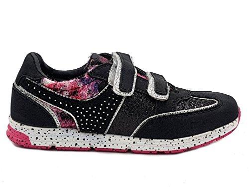 Shoes scarpe bimba bambina per primaverili estive sportive da ginnastica casual comode con strappi colore nera numero 36
