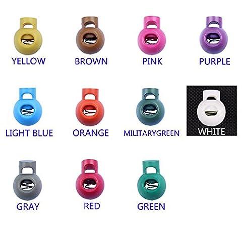 110pcs coloré Boule Plastique Bascule Printemps Arrêt Cordon rond 1trou de serrure (10de
