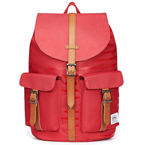 Kaukko Fashion Casual College Style Tasche Unisex Classic Kordelzug Rucksäcke Daypack Schultasche (grau) rotp10