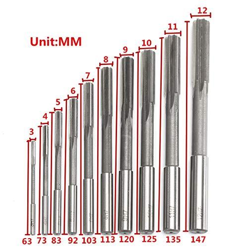 W-Nuanjun-wj 10 stücke HSS H7 Zylinderschaft Fräsen Reibahlen Set Präzision Spannmaschine Cutter Tool 3/4/5/6/7/8/9/10/11/12 mm