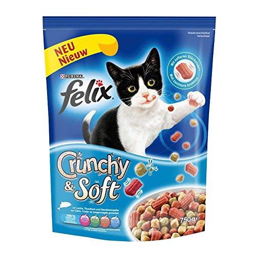 Nestle Felix Crunchy & Soft Lachs, Thunfisch & Gemüse - Felix Katzenfutter Trocken