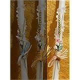 vela de bautizo--vela de bautizo-flor espiralVela de bautizo decorada con un pinzado en espiral, un ramillete de flores con dos rosas y rafia. Disponemos de tres colores, amarillo, rosa y azul. (espiralrosa)
