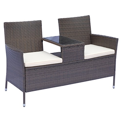 Outsunny 2 Seater Rattan Campanion Chair Wicker Loveseat Outdoor Patio Armchair with Drink Table Garden Furniture - Dark Brown