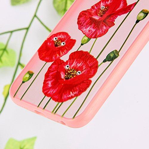 SainCat Coque Housse iPhone 6 Plus, Coque Silicone Etui Housse, iPhone 6s Plus Silicone Case Soft Gel Cover Anti-Scratch Transparent Case TPU Cover,Fonction Support Protection Complète Magnétique Shel fleur rouge