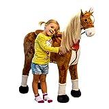 Plüschpferd XXL 105cm - das riesige Pferd zum Reiten, ein tolles Stehpferd XXL, bis 100kg, Spiel-pferd zum Draufsitzen inkl. kleiner Bürste - ein Kindertraum für Mädchen! Farbe: braun/blonde Mähne