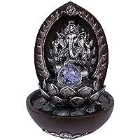 Fuente Buda ganesh con flor de loto plateada pared, bola de cristal giratoria y Eclairage LED