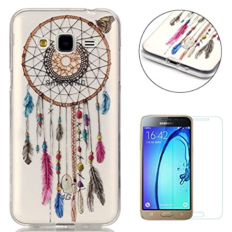 Samsung Galaxy J3 2016/2015 Silicone Gel Case [with Free Screen Protector],CaseHome Crystal Clear Shock Proof Soft Durable Scratch Resistant Jelly Rubber TPU Protective Case Cover Skin Shell for Samsung Galaxy J3 2016/2015 with Beautiful Colourful Pattern Design-Dreamcatcher Feathers