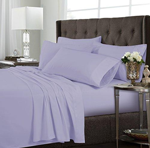 SHEETQUWH Bettlaken-Set, sehr weich, Tiefe Taschen, 6-teilig, Queen, Weiß, Lavendel, Twin XL ()