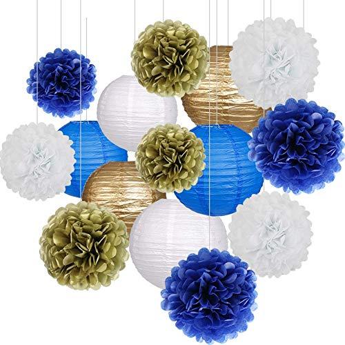 15 Stücke Party Pack Papierlaternen und Pom Pom Balls Hängende Dekoration für Hochzeit Geburtstag Baby Shower-Pink/Weiß (Royalblau/Gold/Weiß)