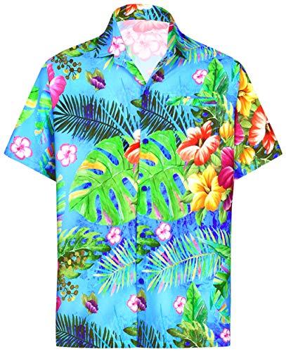 LA LEELA Funky hawaiihemd Hawaiian Hemd Beach Hemd Kurzarm Herren-Taste nach unten Blumenhawaiihemd hawaiihemden übergröße Aloha M Blau_6035 -