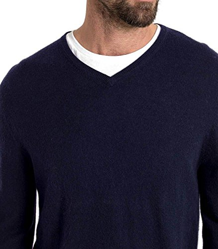 WoolOvers Pullover mit V-Ausschnitt aus Merinowolle-Kaschmirwolle für Herren Navy
