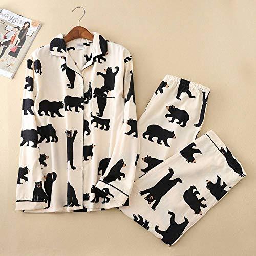 Herbst Und Winter Pyjamas Weiblichen Cartoon Bär Gebürstet Baumwolle Langärmelige Stretch-Taille Hosen Lässig Pyjamas Home Service -
