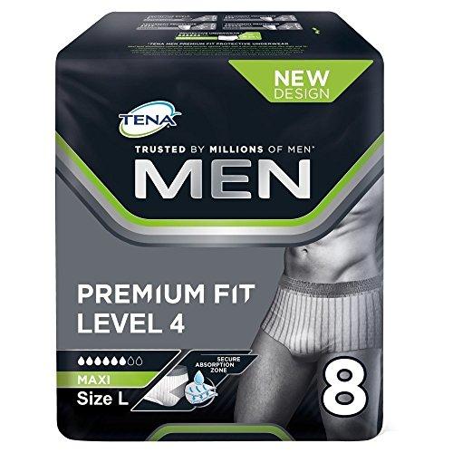 TENA Men Premium Fit Schutzunterwäsche, Level 4, Größe L, 3er Pack (3 x 8 Stück)
