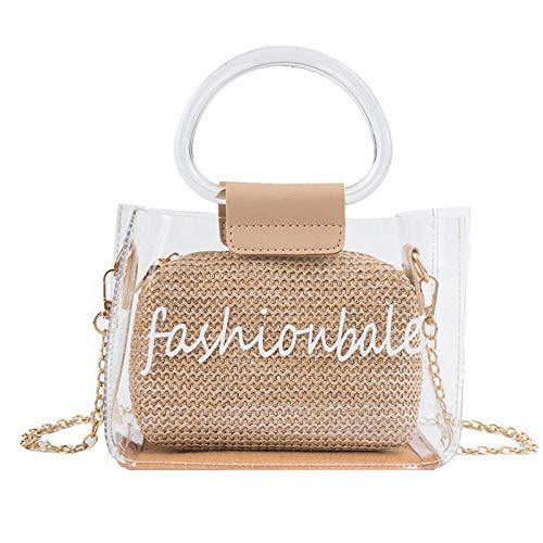 Geflochtene Tasche Damenhandtaschen,Handtasche Transparente Tasche Stroh Khaki