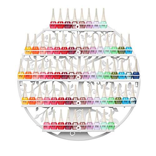5-tier Metall Nagellackregal Wandregal Nagellack Organizer Aromatherapie und ätherischen Ölen Regal Lippenstiftständer Display Rack Aufbewahrung Valentinstag Geschenk Damen- Weiß