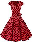 Dresstells Vintage 50er Swing Party kleider Cap Sleeves Rockabilly Retro Hepburn Cocktailkleider Red Black Dot XL