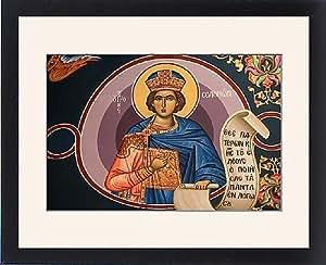Tableau encadré Motif icône grec orthodoxe, à l'effigie du Roi Salomon, Macédoine, Thessalonique, Grèce