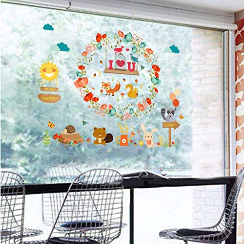 xsongue Cute Cartoon Animal Wall Stickers for Kids Rooms Girls Boys Rooms Nursery English Letters Stickers Wall Mural Home Decor -