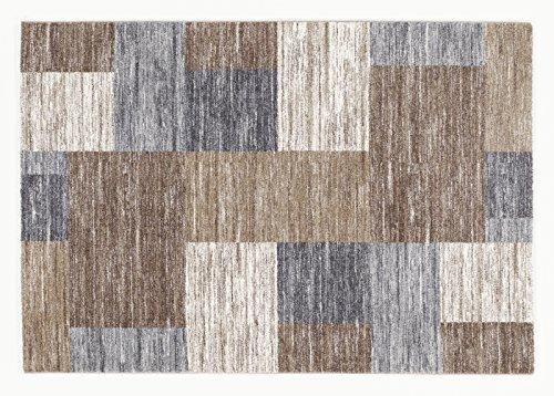 Seiden-schimmer-glanz (FLUFFY FIELD moderner Designer Teppich in beige-braun, Größe: 120x170 cm)
