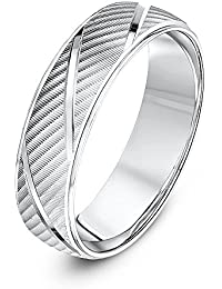 Theia Unisex Sterling Silver Serrated Matt with Diagonal Grooves 6 mm Wedding Ring