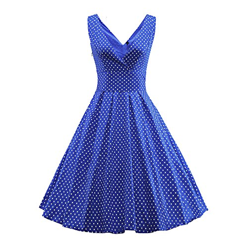 PADGENE Robe Année 50 V-Cou Robe De Bal Style Rockabilly Swing À Pois Pin Up(Bleu, M)